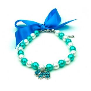 Collier de perles bleues et blanches pour chiens